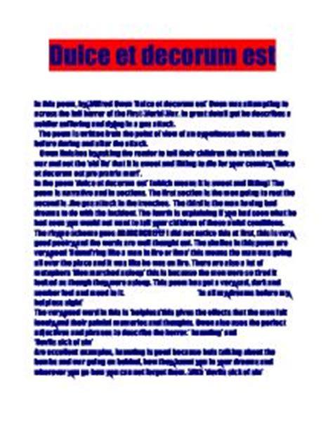 Wilfred Owen Dulce et Decorum Est Genius